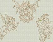 INSTANT DOWNLOAD Fantasy Dragons Redwork Machine Embroidery Designs