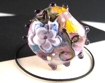 HUGE Artisan Lampwork Flower Bead, 35mm, Floral Lampwork Bead, Lentil Bead, Lampwork Glass Bead, Lampwork Focal Bead, Sputnik Border LB07