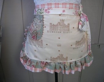 Womens Aprons - Downton Abbey Apron - Cottage Chic Aprons - Handmade Womens Aprons - Annies Attic Aprons - Downtown Abbey Aprons