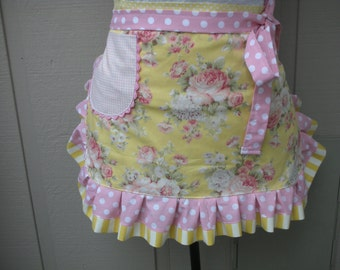 Womens Aprons - Aprons with Pink Roses - Etsy Aprons - Hot Pink Roses Aprons - Shabby Chic Aprons - Annies Attic Aprons - Handmade Aprons