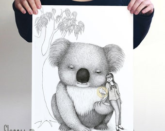 Giant Koala, large black and white art print by flossy-p. Australian gift with original art by flossy-p