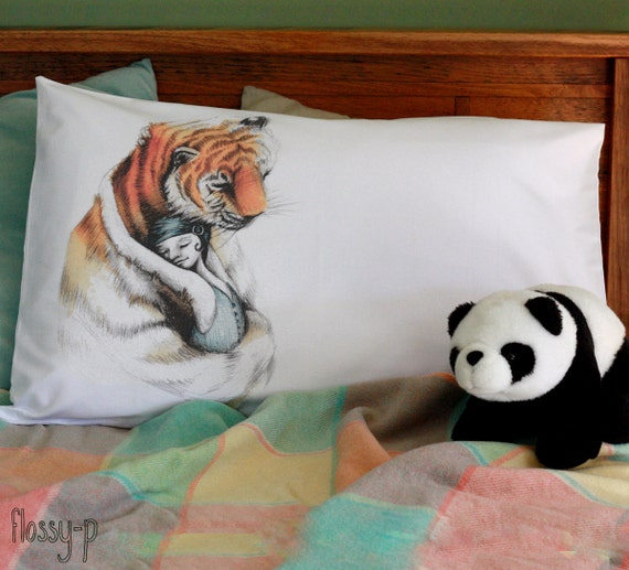 Tigerhug pillowcase. Illustrated. Printed. White cotton. Picture pillow sham. Jungle. Australian gift with original art by flossy-p