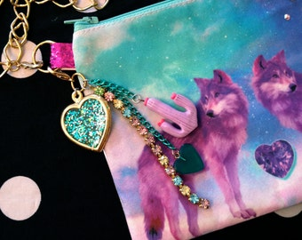 Purple Wolves Wristlet Pouch with Zipper