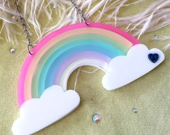 Rainbow Acrylic Necklace