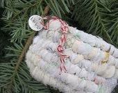 PURE LOVE  hand coiled textile art SMALL basket with charm