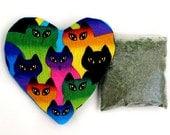 Catnip  Heart Toy with Catnip Refillable Rainbow Cats