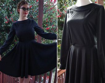 NOIR 1970's Vintage Solid Black Polyester Dress with Full Skirt // size Small Medium // Long Sleeves