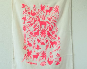 Set of 2 Otomi Dishtowels in Neon Coral