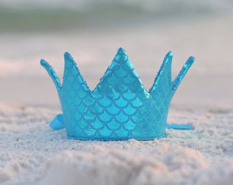 Dress Up Crown - Sequin Crown - Birthday Crown - Mermaid Crown Reverse Turquoise Sequins - Fits all
