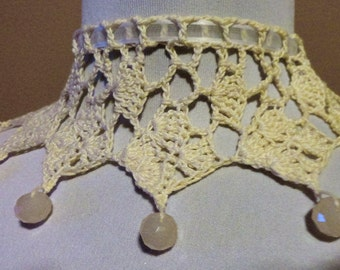 Ivory Cream Crochet Beaded Necklace Choker Victorian Steampunk Gothic Lace Crochet Wedding