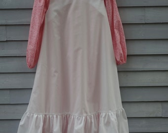 Girl, size 8/10, pioneer costume, pink and white.