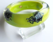 Chartreuse green lucite bracelet with real beetles