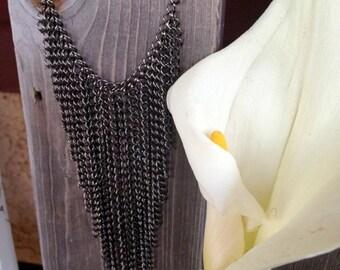 SUMMER SALE Black Chain Fringe Necklace -  Oversized Statement Jewelry
