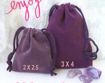 "Purple Velveteen Drawstring Bag, Velvet Coin Pouch, Gift Bag, Crystal Pouch, Dice Bag, 2 x 2.5""  and 3 x 4"" available, BULK TOO!"