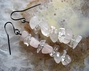 Rose Quartz & Clear Quartz Crystal Earrings