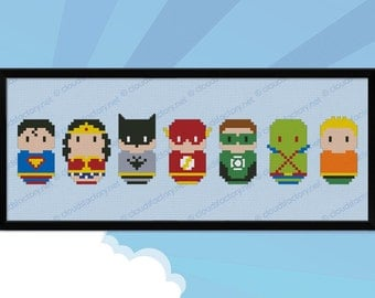 Justice League of America parody - Cross stitch PDF pattern