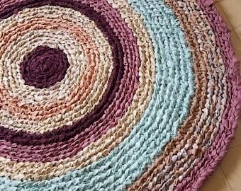 """41"""" Round Crocheted Rag Rug Floor Art Purple Pink Blue Medium Large"""