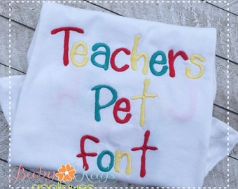 """Teacher's Pet Embroidery Font 1"""", 1.5"""", 2"""", 1.5, 3"""", and BX"""