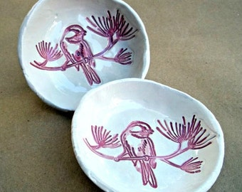 TWO Ceramic Bird Prep Bowls Off White and Red Organic Shape