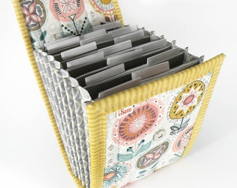 Circular Needle Case - Pastel Tribal Fowers - Needle Holder Needle Wallet Circular Needle Organizer Gold Pink Aqua Gray