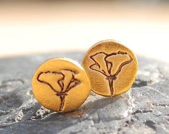 Flower CALIFORNIA POPPIES stud EARRINGS -  sterling silver or 14kt gold vermeil posts handmade and illustrated by Chocolate and Steel