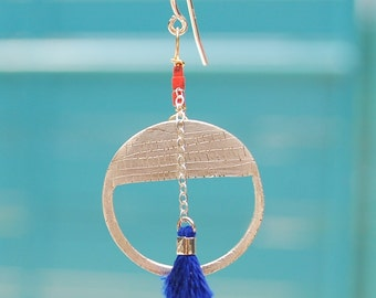 SUNRISE HOOKS earrings sterling silver or 14kt gold vermeil with beads and tassel handcrafted and carved by artisan Chocolate and Steel