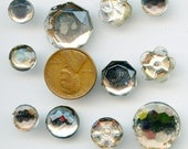 Vintage Mirror Back Buttons Glass SUPER LOT of (11) Various sizes 2 piece cemented Czechoslovakia 2848
