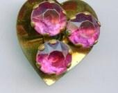 Brass Lucite Heart Button Rhinestones Vintage Prong Set 1991