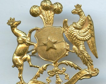 Chile Cap Badge Stag Griffin Dragon Wyvern  Military Uniform More Available 1776a