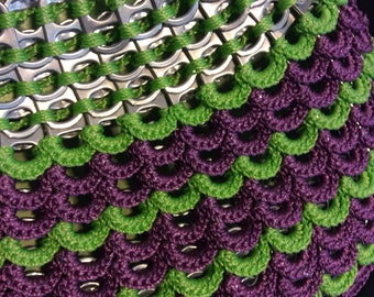 Lime Green and Plum Pull Tab Crochet Purse