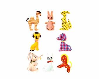1960s Kangaroo Rabbit Cat Dog Elephant Horse Camel Lion Stuffed Animals Toys Transfer Simplicity 5767 Vintage Sewing Pattern Uncut