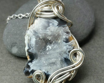 Arctic Cave Druzy Agate and Silver Necklace