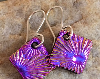 DICHROIC EARRINGS Purple/Pink Simple Little Sterling Silver & Fused Glass