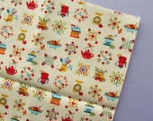 Cute Kitchenware, Birds & Flowers - Japanese Fabric - 16 x 19 inches - red, blue, yellow, green - Destash