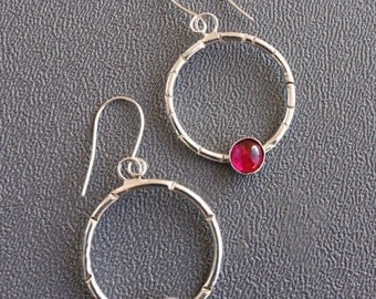 Garnet Hoop Earrings, Sterling Hoop Earrings, Hoop Earrings, Boho Earrings, Garnet Sterling Earrings, Garnet Earrings