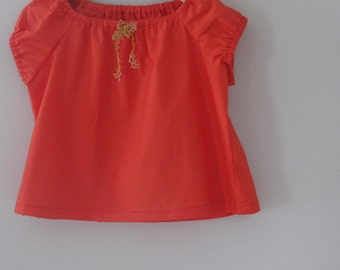 Red cotton lawn gathered blouse 2T