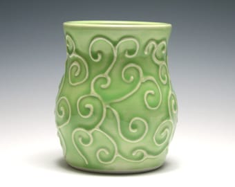 Small Green Vase with Swirling Vines