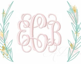 """3"""" and 4"""" Embroidery Font Vine Interlocking Monogram Grace 5x7 6x10 BX instant download"""