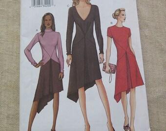 VOGUE 7519 Misses shaped Hemline Dress Pattern UNCUT sz 14 16 18 Collar and Sleeve Variations