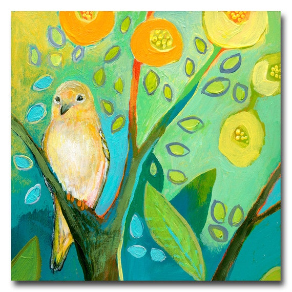 The NeverEnding Story No 76 (yellow finch) - ORIGINAL Painting on 6x6 Wood Block by JENLO