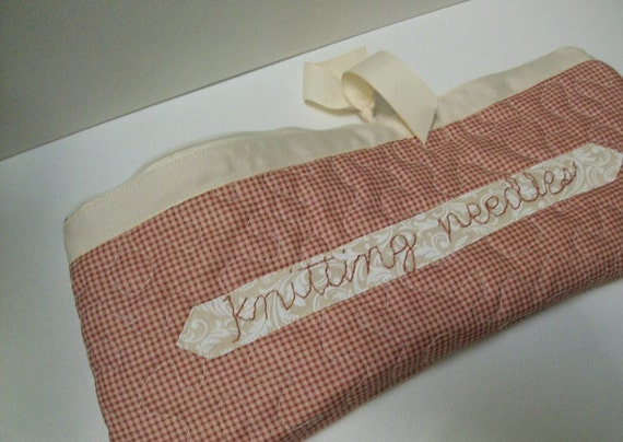 Quilted Knitting Needle Case red gingham check by brenniequilts