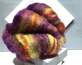 "wool fiber art batt, spinning fiber, roving, needle felting, nuno felting wool ""Purple Parfait"" purple orange violet lavender yellow orange"