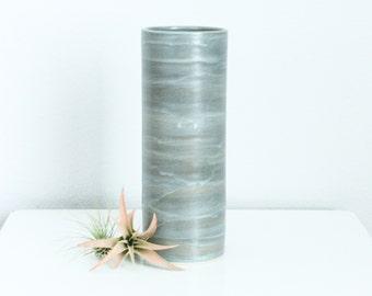 Modern Grey Ceramic Cylinder Vase, Medium Porcelain Cylinder Vase in Steel Grey