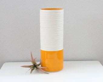 Orange Porcelain Cylinder Vase - Groove Cylinder Vase in Orange - Tall Narrow Orange Vase - Orange Pottery Vase