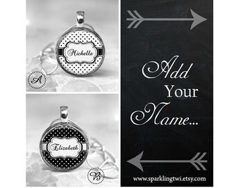 Jewellery, Necklace, Pendant, Custom Name Necklace, Name Necklace, Resin Jewelry, Resin Pendant, Inspirational Quote, Black and White