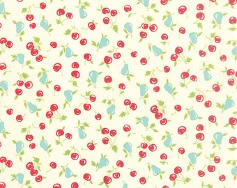 Vintage Picnic - Cherries Pears in Cream: sku 55123-17 cotton quilting fabric by Bonnie and Camille for Moda Fabrics - 1 yard
