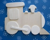Unfinished Layered Wood Shape-3-D-Train-Set of Three-Swag-Wall Hanging-Children-Home Decor-DIY
