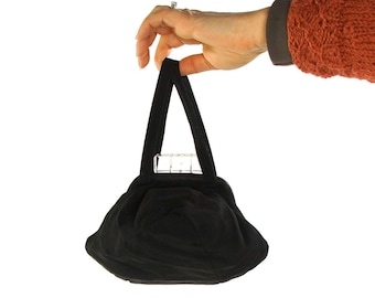 Lucite Clasp Evening Bag / Vintage 1940s Black Ribbed Satin Handbag with Clear Lucite Clasp / Small Pouch Purse