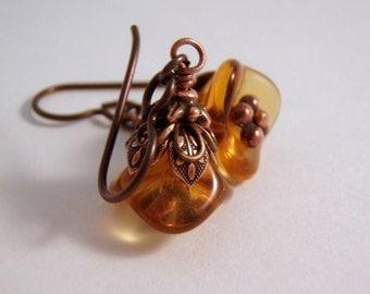 Amber Flower Earrings Copper Finish Niobium Ear Wire Handmade Earrings Hypoallergenic Lifetime Guarantee