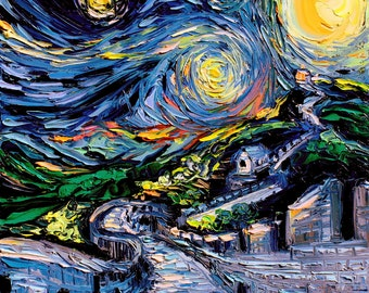 van Gogh Never Saw The Great Wall - Art Giclee print reproduction by Aja 8x8, 10x10, 12x12, 20x20, and 24x24 inches choose your size
